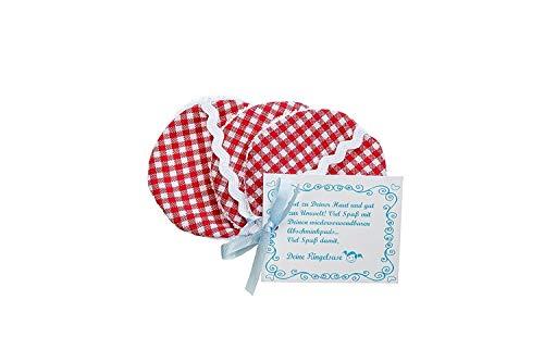 3er-Pack: Wiederverwendbare Wattepads aus Stoff Reinigungs Pads Abschminkpads Baumwolle 6 cm Durchmesser Waschmaschinen Geeignet Rot Weiß Kariert Fair Trade Ringelsuse -