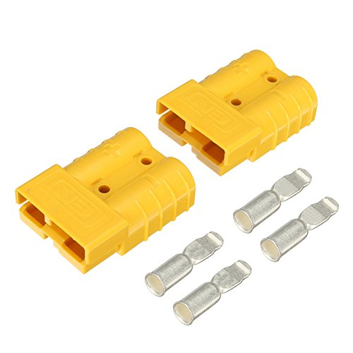 DyNamic 2Pcs 50A DC12 / 24V Anderson Style Steckverbinder Anderson Power Plug 4X Terminals Gelb Power Terminal