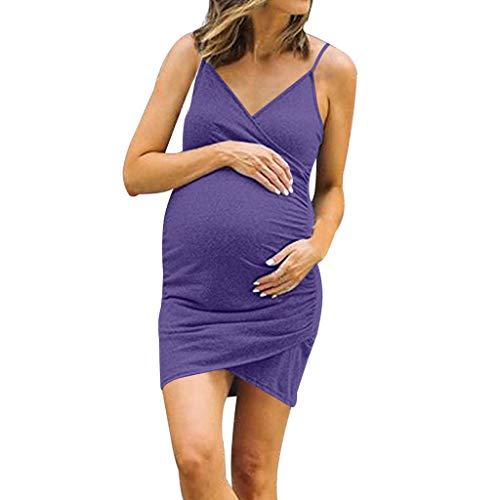 TUDUZ Damen Sommerkleid Leibchen Maternity Kleid Schulterfrei Umstandskleid Schwangeren Kleider Mutterschaftskleid Nachthemd Einfarbig Umstandsmode(Small,Lila)