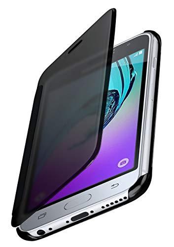 moex Samsung Galaxy J3 (2016) | Hülle Transparent TPU Void Cover Dünne Schutzhülle Anthrazit Handyhülle für Samsung Galaxy J3 2016 Case Ultra-Slim Handy-Tasche mit Sicht-Fenster