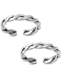 Silvernshine Women's 14K White Gold Fn .925 Sterling Silver Twist Braid Adjustable Toe Ring Set