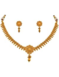 MEENAZ One Gram Kundan Pearl Gold Pendant Necklace & Earrings Set For Women