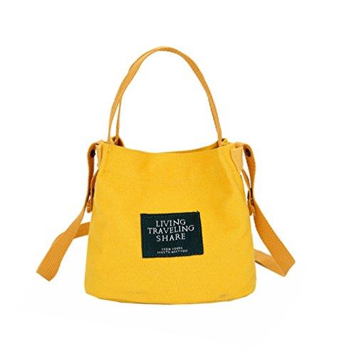 Vbiger Borsa a tracolla in tela Borsetta alla moda Borse Tote alla moda Borsa Messenger casual per donne(Nero) Giallo