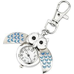 artistic9(TM) Cute Owl cuarzo reloj keychain-flexible alas llavero Clip reloj de bolsillo, Aleación, azul, talla única