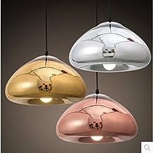 Lámpara Colgante moderno Un estilo moderno y minimalista mesa de comedor bar tres cabezas de la carcasa de la lámpara de cristal de murano chapado tienda de ropa única cabeza pan candelabros ,300mm, plata