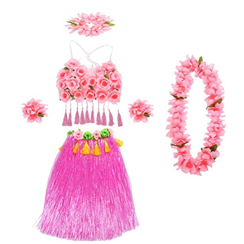 pical Hula Grass Rock Set mit rosa Blätter Leis Armbänder Stirnband Armband Dessous für Beach Luau Party Supplies (Pink) ()
