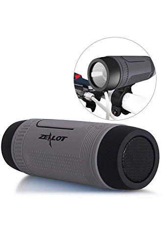 SLCSL Outdoor Lautsprecher Tragbare Bluetooth Fahrrad Lautsprecher S1 4000 mAh Energienbank Wasserdichte Lautsprecher mit Voller Zubehör Im Freien (Fahrradhalterung, Karabiner .) (Grau)