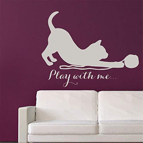yiyiyaya Spielen Sie mit Mir Kätzchen Wandtattoos Zitat Katzen Vinyl Aufkleber kreative abnehmbare Kunst Wandaufkleber Kinder Schlafzimmer Dekor Kaffee 58x46cm