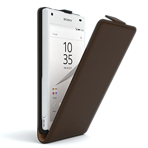 Sony Xperia Z5 Compact Hülle - EAZY CASE Premium Flip Case Handyhülle - Schutzhülle aus Leder in Hellblau Braun (Flip)