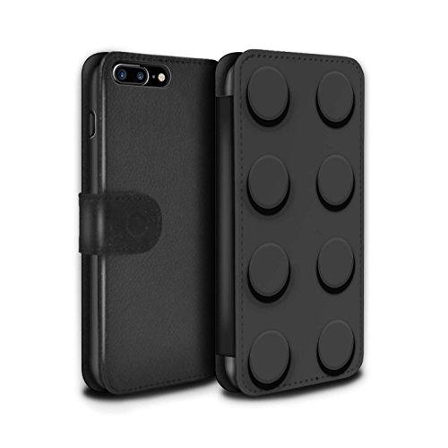 STUFF4 PU-Leder Hülle/Case/Tasche/Cover für Apple iPhone 8 Plus / Pack 6pcs Muster / Spielzeug Steine/Blöcke Kollektion Schwarz