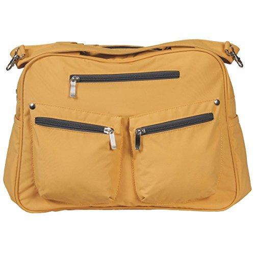Wickeltasche LAURA Schultertasche Tragetasche Pflegetasche + Wickelauflage Baby Tasche in 6 verschiedenen Farben (Ockergelb) Ockergelb