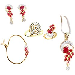 Accessories Tank American Diamond Ruby Pendant Necklace and Earring Set with Bracelet and Ring for Women