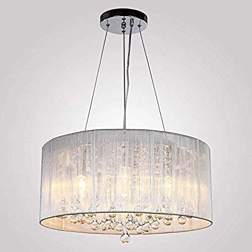 Cxwcy Europäischen Stil einfache kristall kronleuchter Trommel anhänger Moderne 4 Lichter pendelleuchte stoffschirm deckenleuchte for Wohnzimmer esszimmer hängen Lampe Mode - Trommel Anhänger Kronleuchter