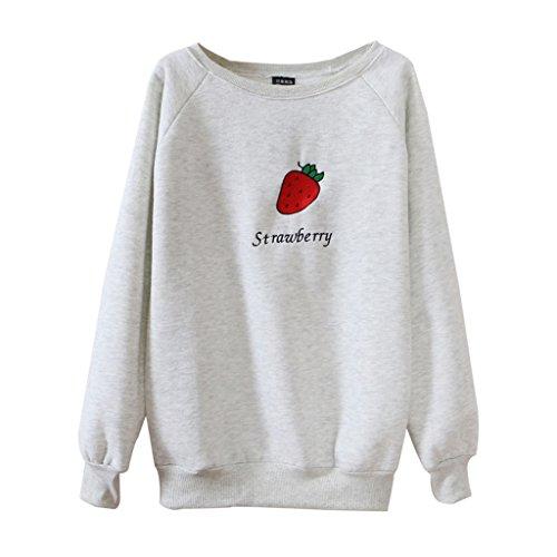 Jiayiqi Filles Belle Fraise Impression Pull Col Rond Sweatshirt Mode Gris