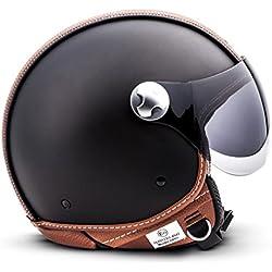"""Armor · AV-84 """"Vintage Deluxe"""" · Casque Moto Jet · Scooter Helmet Chopper Retro Cruiser Demi Jet · ECE certifié · Visor · Click-n-SecureTM Clip · Sac fourre-tout · M (57-58cm)"""