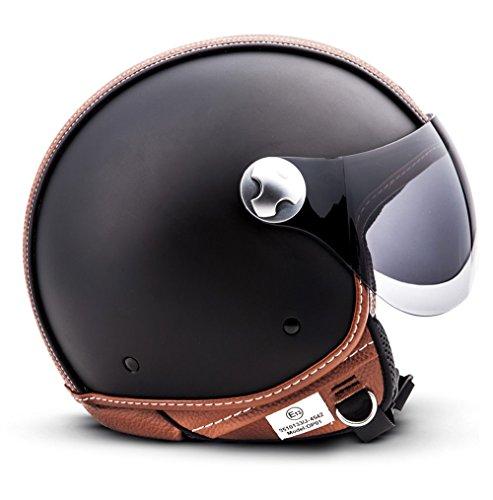 "Armor · AV-84 ""Vintage Deluxe"" · Casque Moto Jet · Chopper Demi Jet Retro Scooter Helmet Cruiser · ECE certifié · Visor · Click-n-Secure Clip · Sac fourre-tout · S (55-56cm)"