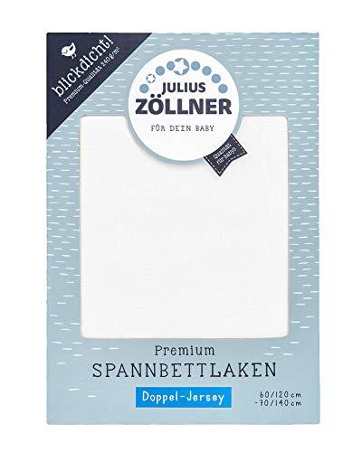 Julius Zöllner 8356157100 Jersey Spanntuch Premium, blickdicht, aus Jersey Doppeltuch, passend für Kinderbetten 60x120 und 70x140 cm, weiß