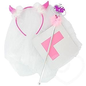 Gifts 4 All Occasions Limited SHATCHI-448 - Juego de 3 accesorios para despedida de soltera, varita de velo para fiesta de despedida de soltero, multicolor