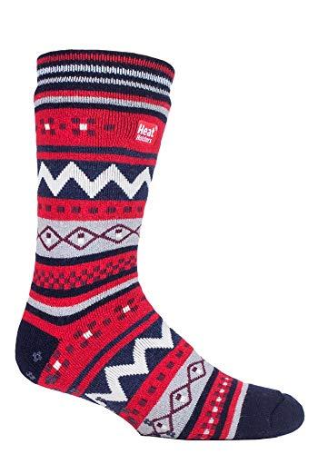 Heat holders - uomo invernali colorati simpatici antiscivolo calzini da casa (39/45, navy/red (soul))