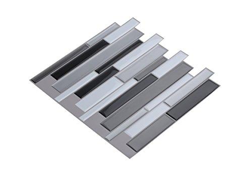 Wall Crafts® 3D Mosaik Fliesensticker selbstklebend 5 Stück für Küche Bad, Vinyl Fliesenfolie schwarz weiss grau Wandtattoo, 30,5 x 30,5cm Fliesen Aufkleber Folie Sticker Wanddeko - Mosaik Vinyl