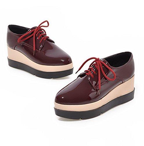 AgooLar Femme Lacet Rond à Talon Haut Couleur Unie Pu Cuir Chaussures Légeres Rouge