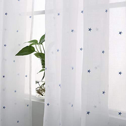 Deconovo Voile Vorhang Ösen Vorhänge Kinderzimmer Dekosachals Bestickte Vorhang Voile 240x140 cm Blau Stern