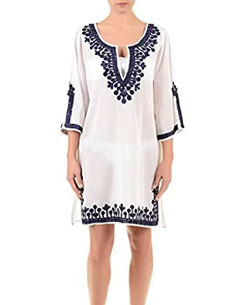 Blue 095 Iconique Kaftan White Ic7 Women's Embroidered And 0mwy8nPNOv