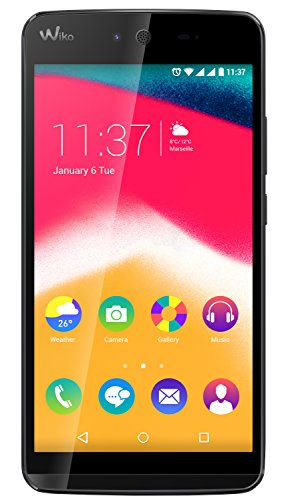 Wiko 9551 Rainbow Jam Smartphone (12,4 cm (5 Zoll) HD IPS-Display, 1,3 GHz Quad-Core Prozessor, 16GB interner Speicher, 1GB RAM, Android 5.1 Lollipop) schwarz