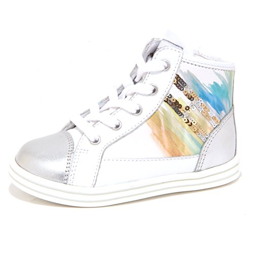 6535P sneaker HOGAN REBEL R141 ACQUERELLO bianco/argento scarpa bimba shoe kid Bianco/Argento