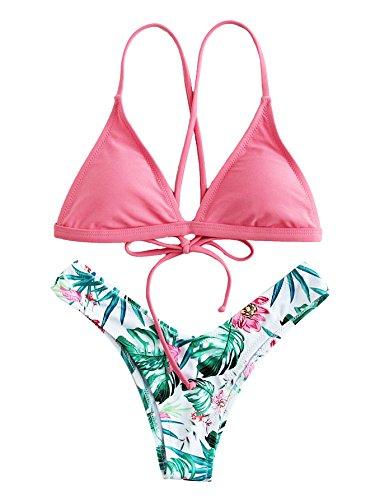 cfe3f2a602 SOLYHUX Femme Maillots de Bain 2 Pièces Bikinis Dos Nu Taille Bas Push-up  Rembourré Bikini à Bretelle Plage