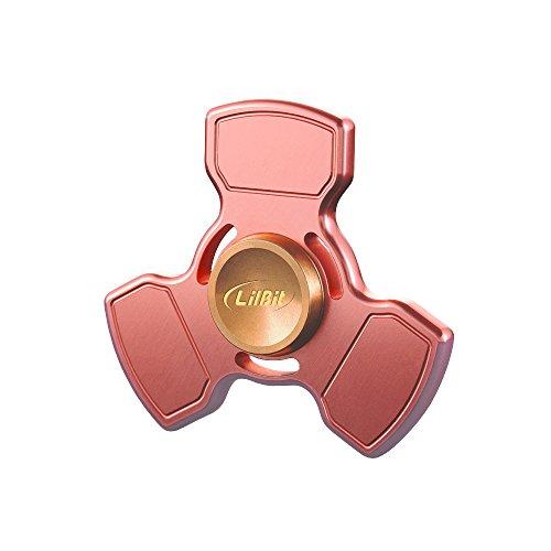 LilBit Fidget Spinner con Trick EDC ADHD Giocattolo per la Concentrazione 4-8 Min di Rotazione con Cuscinetti in Ceramica da 9 Velocita', Color Rosso Rame