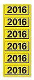 ELBA 400057984 Jahres-Schild 2016, Inhaltsschild, Jahreszahlen Etiketten (120 Stück, für Ordner) 20 Blatt, gelb