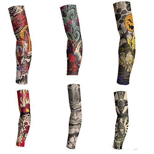 6 pezzi set manica finta braccio manica tatuaggio temporaneo disegni arti tigre teschio tribale ecc e manica tatuaggio parasole manica braccio-1