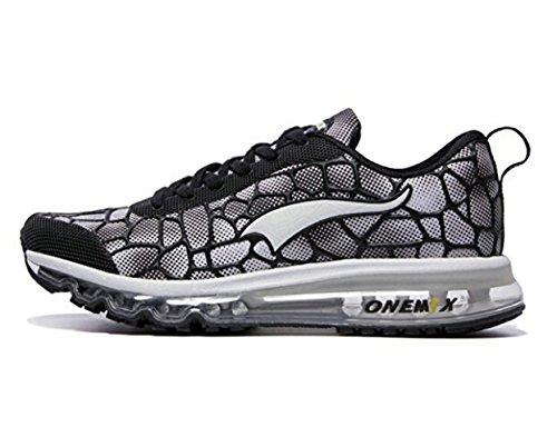 Onemix Air Uomo Scarpe da Ginnastica Corsa Sportive Running Sneakers Fitness Interior Casual all'Aperto Nero bianco dimensione 47 EU