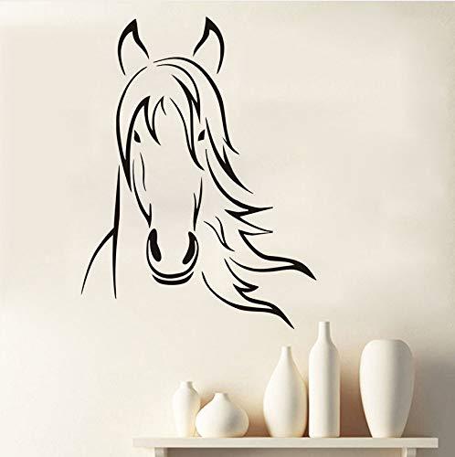 Hwhz 44 X 58 Cm Gliederung Hof Tier Pferdekopf Wandaufkleber Für Kinderzimmer Wand-Dekor Vinyl Entfernbare Wandkunst Dekoration Zubehör (Hof Diy Halloween Dekor)
