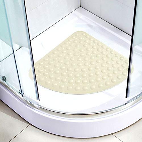 zfq Fan Bad Rutschfeste Schiefe Dreieckige Gekrümmte Kissen Badewanne Hotel Transparente Badezimmer-Matte 64 * 64CM Leichte Beige
