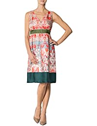 Daniel Hechter Damen Kleid Seide Dress Floral, Größe: 42, Farbe: Grün
