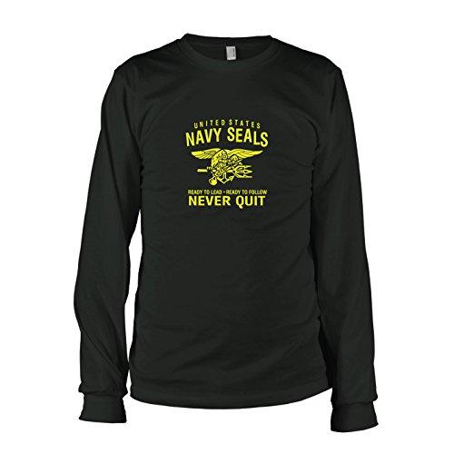 Motivator Herr Kostüm (TEXLAB - Navy Seals Never Quit - Langarm T-Shirt, Herren, Größe XL,)