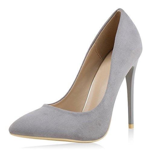 Damen Spitze Pumps Elegante Stiletto High Heels Veloursleder-Optik Schuhe Grau 38