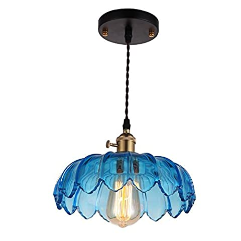 ONEPRE Antique Modern Glass pendant light, Elegant Blue Color Glass