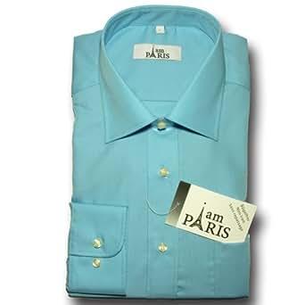 I am Paris - 100% Baumwolle - Herren Business & Freizeit Hemd, Shirt, bügelfrei, Langarm, uni, Farbwahl:150u#15 - türkis blau, Größe: S