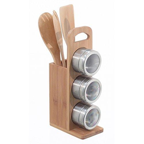 Porte ustensiles bambou et 3 pots epices inox - 111530