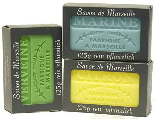 100% Naturseifen: Zitronenseife & Verveineseife & Marineseife, 3-teiliges Seifenset (Savon de Marseille)