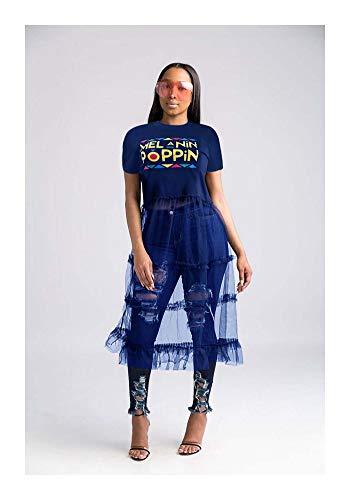 FJLOKE& Women Short Sleeves Letter Print Cute Casual mesh Patchwork Long Party Dress Blue XL