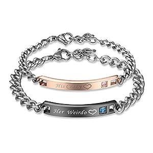 JewelryWe Schmuck Curb Kette Armband mit Gravur Partnerarmband aus Edelstahl Pärchen Armreifen für verliebte Herren Damen Geschenkset
