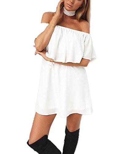 Auxo Femme Sexy épaule Nu Bustier Mini Robe Mousseline Pure Couleur Plage Princesse Robe Blanc