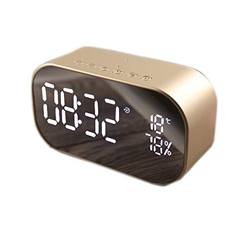 ZHL Nacht Wecker Radio, Digital-Wecker Mit Big Digit Spiegel Anzeige Temperatur Drahtlosen Bluetooth Subwoofer-Radio Für Start Schlafzimmer Office,A