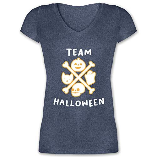 Halloween - Team Halloween - XS - Dunkelblau meliert - XO1525 - Damen T-Shirt mit V-Ausschnitt