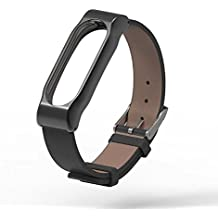 Pinhen MI BAND 2 Banda de Silicona Metal Mesh Repuesto Correa de Recambio Brazalete Extensibles Surtido de Colores para Xiaomi Mi Band 2 Wireless Pulsera (Leather Black)