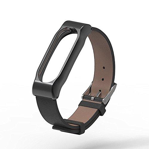 Pinhen Xiaomi Mi Band 2 Polso Cinturino in metallo pelle La cinghia di vita cinghia di metallo & Shell protettivo per Xiaomi Mi Banda 2 intelligente Miband Bracciale (Leather Black)